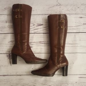 Joan & David Circa Boots, Brown Leather Boots